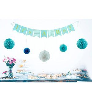It's A Boy baby shower decorations in blues
